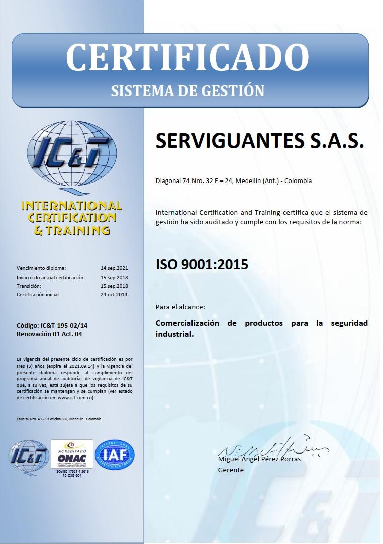 Certificado Serviguantes ISO9001:2008